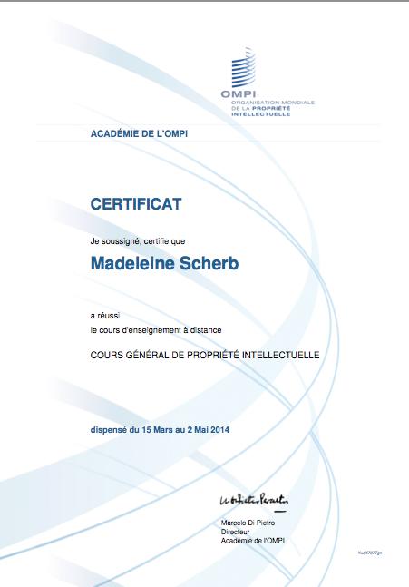 OMPI, certificat de Madeleine du cours sur la PI