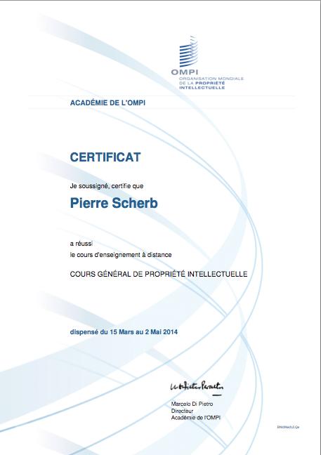 OMPI, certificat du cours sur la PI
